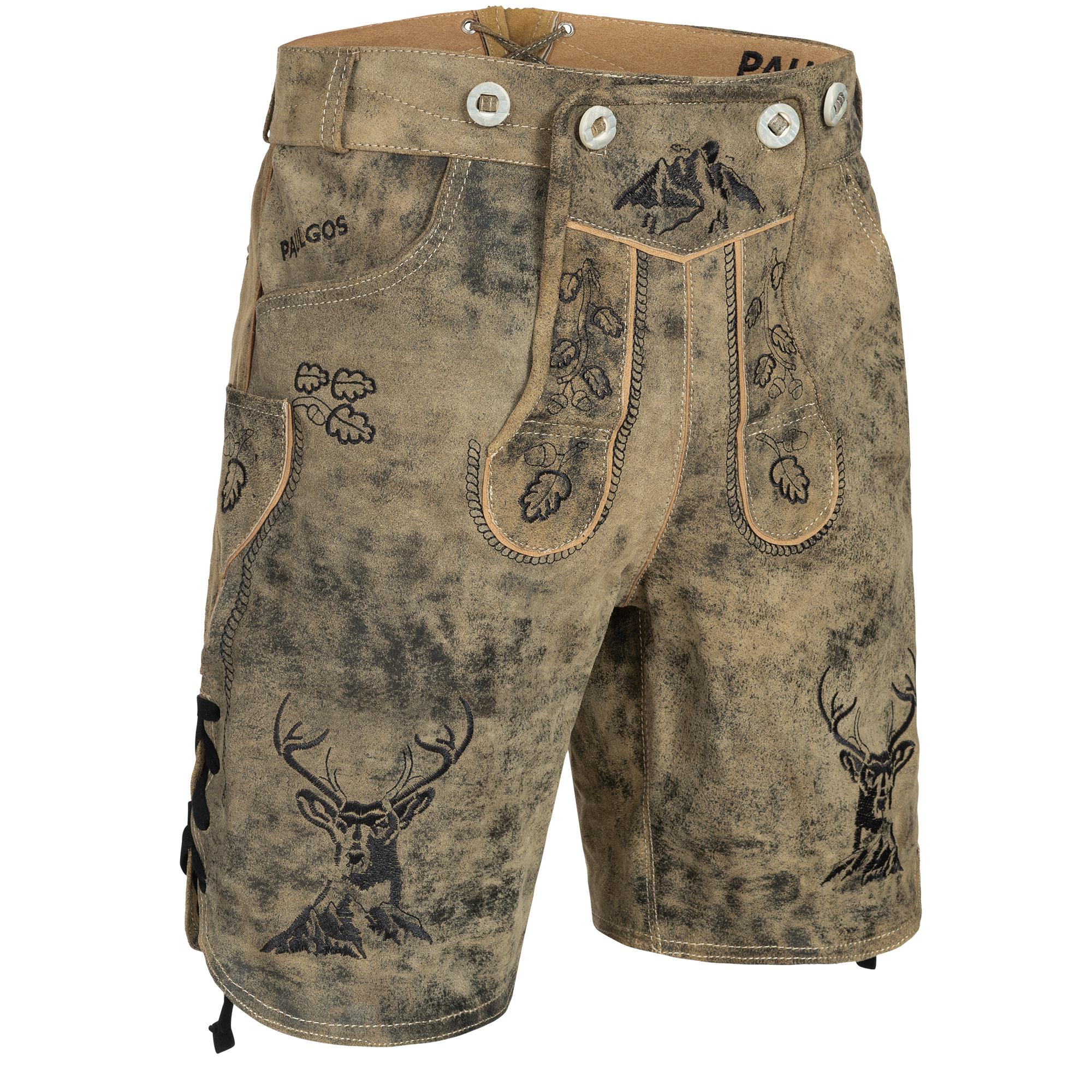 Details zu PAULGOS Herren Trachten Lederhose + Träger Echtes Leder, Kurz 3 Farben HK4 Antik